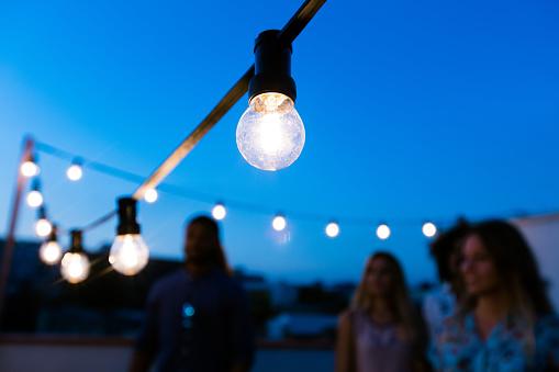 Light bulbs at dusk