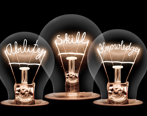Photo of light bulb group with shining fibers in ABILITY, SKILL and KNOWLEDGE shape isolated on black background