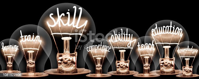 Photo of light bulb group with shining fibers in a shape of SKILL concept related words isolated on black background