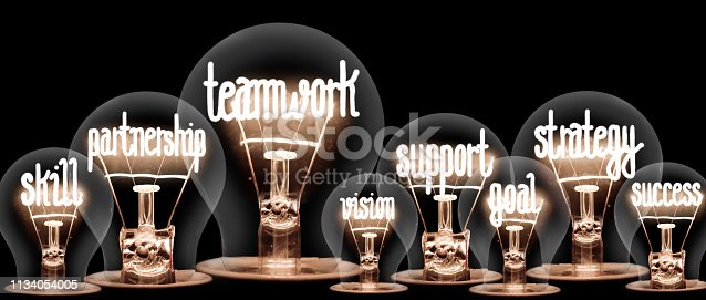 Photo of light bulbs group with shining fibers in a shape of Teamwork, Partnership and Collaboration concept related words isolated on black background