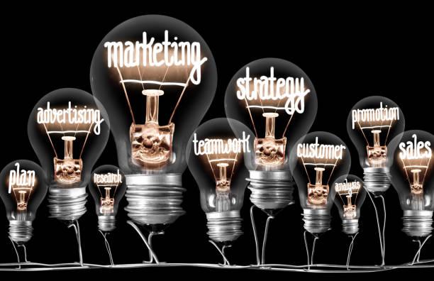 konzept für leichte glühbirnen - marketing stock-fotos und bilder