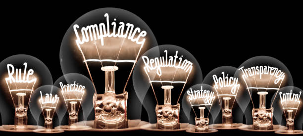 Light Bulbs Concept Photo of light bulbs with shining fibers in a shape of COMPLIANCE concept related words isolated on black background anonymous stock pictures, royalty-free photos & images