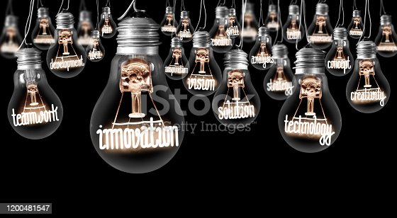 Large group of light bulbs with shining fibers in a shape of INNOVATION and IDEA concept related words isolated on black background; horizontal composition