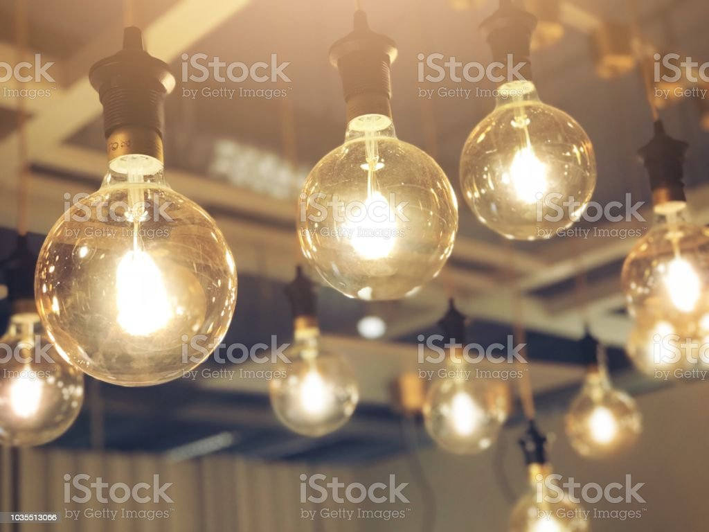Light Bulbs Decoration In Cafe Shop New Ideas Concept Thinking