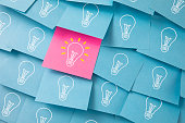 istock Light Bulbs Drawn on Colorful Sticky Notes 1226583757