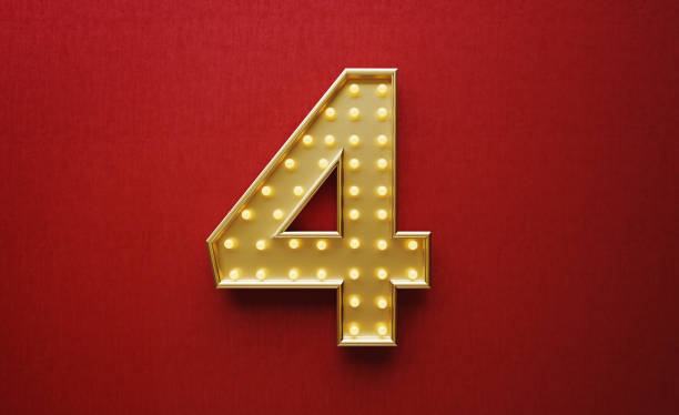 Light Bulbs Forming Number Four on Red Background Light bulbs forming number four on red background. Horizontal composition with copy space. number 4 stock pictures, royalty-free photos & images