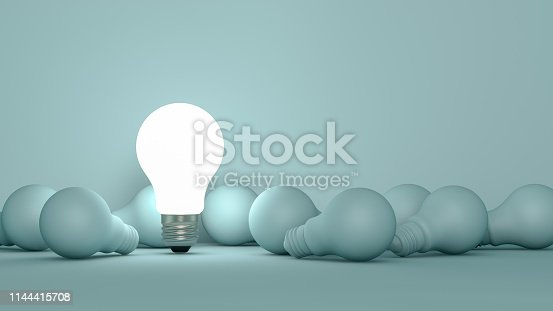 3d rendering Light Bulbs, Minimal Idea concept.  Alternative Energy.