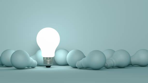 lampadine, concetto di idea minima - semplicità foto e immagini stock