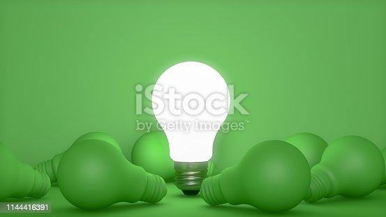 3d rendering Light Bulbs, Minimal Idea concept.  Alternative Energy.