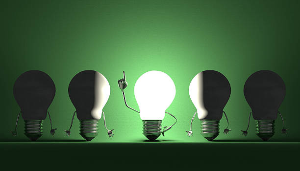 Light bulbs, moment of insight on green Glowing light bulb character in moment of insight among switched off ones on green textured background aha stock pictures, royalty-free photos & images