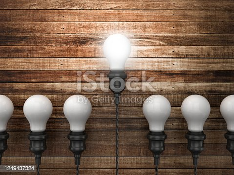 Light Bulbs on Wood Wall Background - 3D Rendering