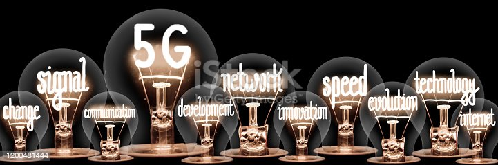 1137367258 istock photo Light Bulbs with 5G Network Concept 1200481444