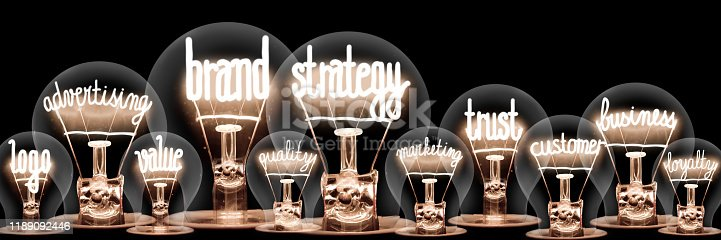 1027533352 istock photo Light Bulbs with Brand Strategy Concept 1189092446