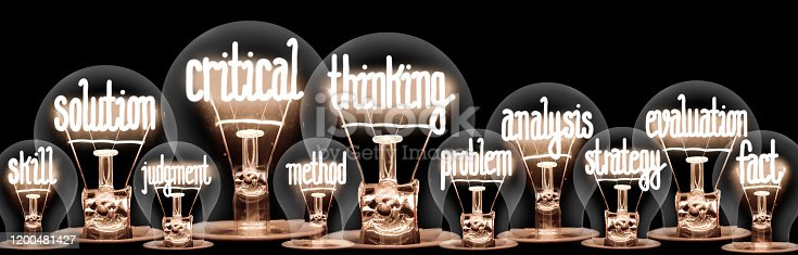 Photo of light bulb group with shining fibers in a shape of Critical Thinking, Solution, Analysis and Evaluation concept related words isolated on black background