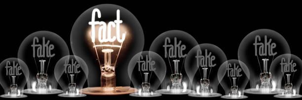 Glühbirnen mit Fake und Fact Concept – Foto