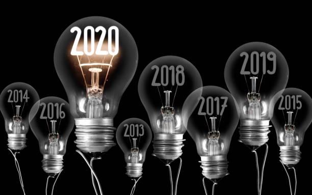 Glühbirnen mit Neujahr 2020 – Foto