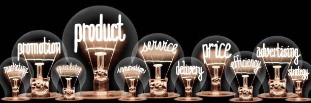 Glühbirnen mit Produktkonzept – Foto