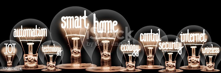 istock Light Bulbs with Smart Home Concept 1208526714