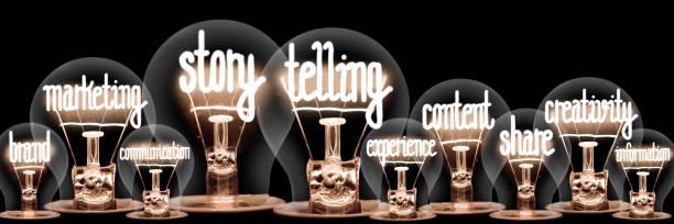 Glühbirnen mit Story Telling Concept – Foto