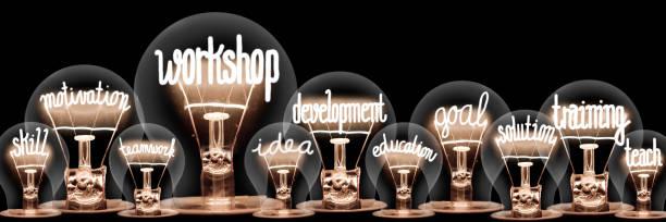 Glühbirnen mit Werkstattkonzept – Foto