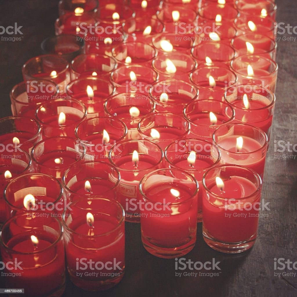 Light Burn Red Candles In Glass Stock Photo - Download Image