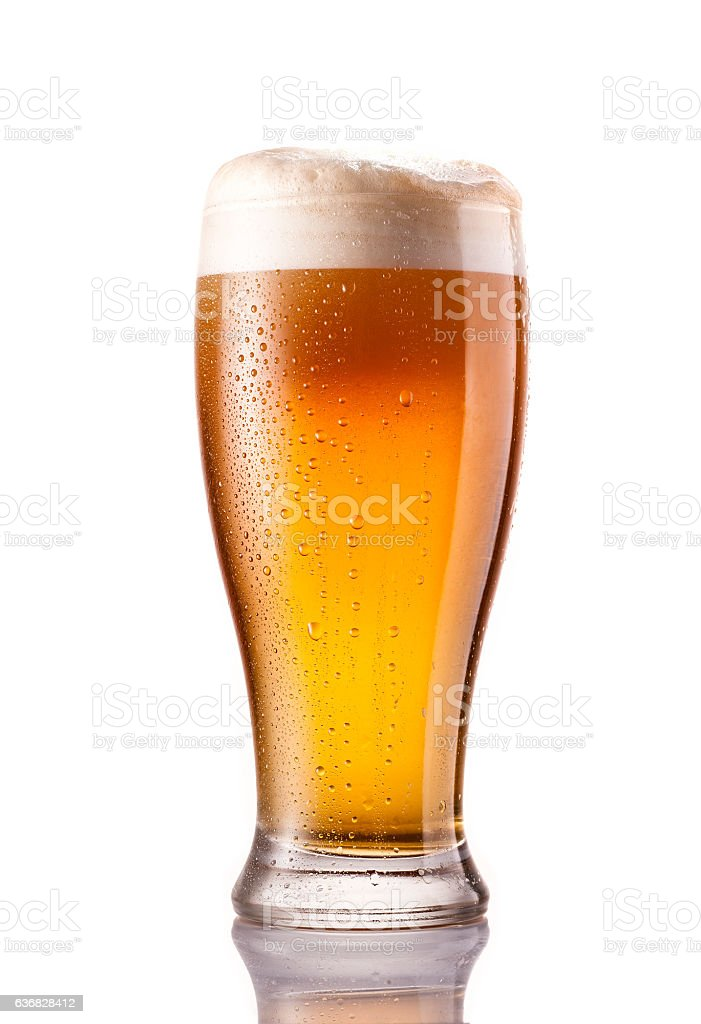 light cold beer in frosty glass isolated on white stock photo