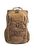 light combat backpack coyote color front view isolated on a white background stock photo