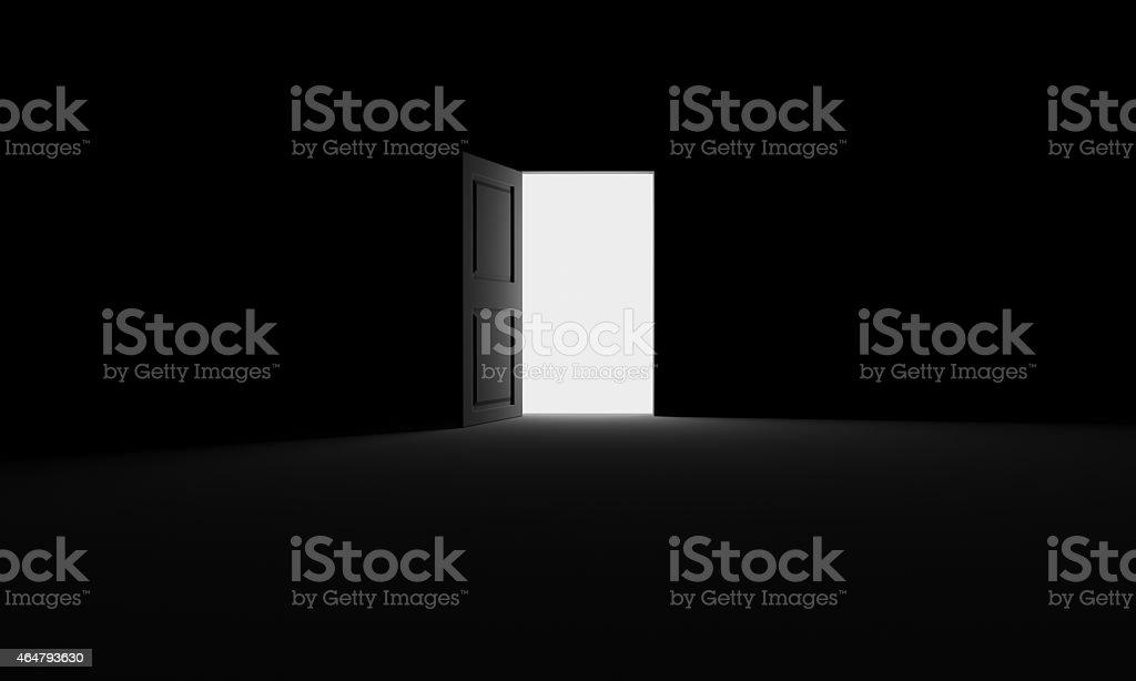 Royalty Free Black Door Opening In A Dark Room Pictures Images