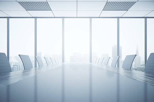 Light conference table stock photo