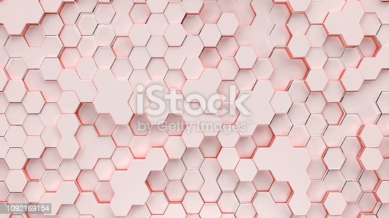1166441358 istock photo Light coral background with hexagons surface 1092169154
