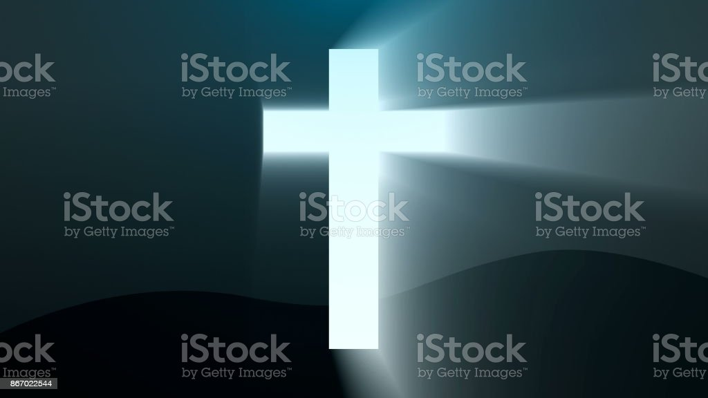Light cross of Christ, ray beams background stock photo