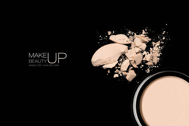 Light crumbling makeup powder with sample text stock photo