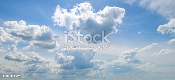 Light cumulus clouds in the blue sky. Wide photo .