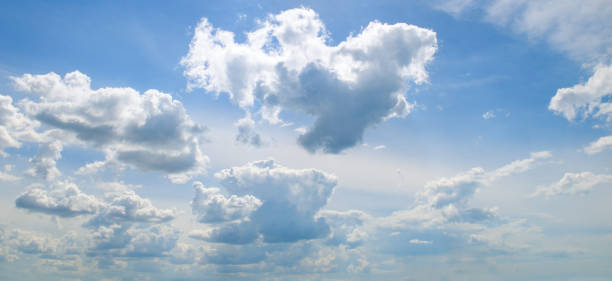 light cumulus clouds in the blue sky. - cloud sky stock pictures, royalty-free photos & images