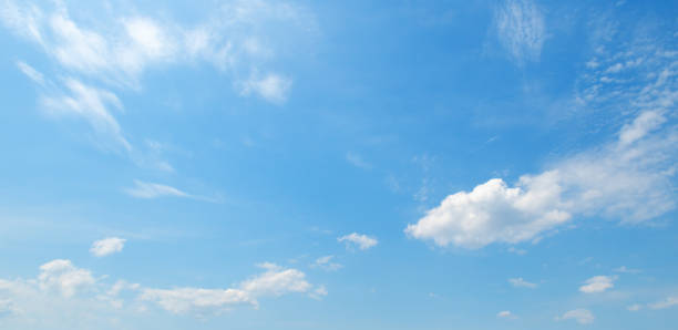 Light cumulus clouds in the blue sky. stock photo