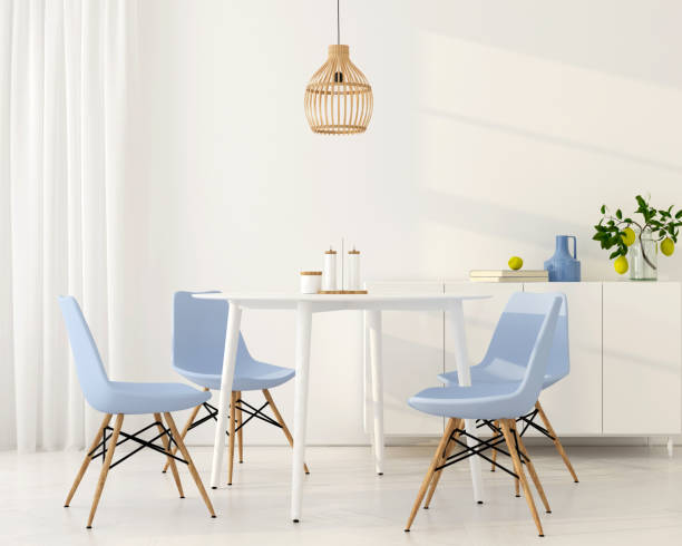 Light dining room with blue chairs