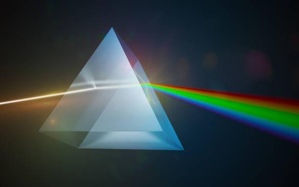 光の分散と屈折のコンセプトです。三角形のガラスのプリズムを通して輝く光。3 D には、イラストが表示されます。 ストックフォト