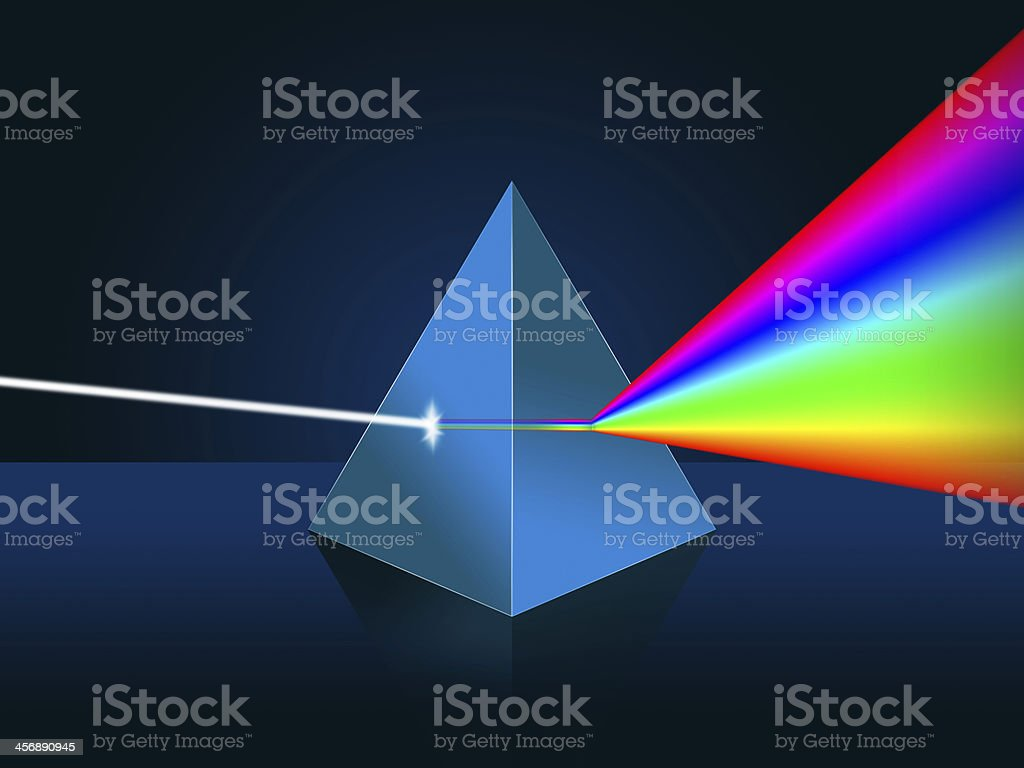 Light dispersion illustration. Prism, spectrum stock photo