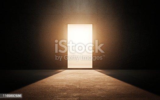 Light door in dark room. 3d render