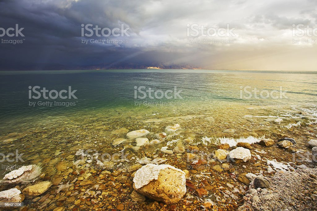 Light effects during a thunder-storm on the Dead Sea royalty-free stock photo
