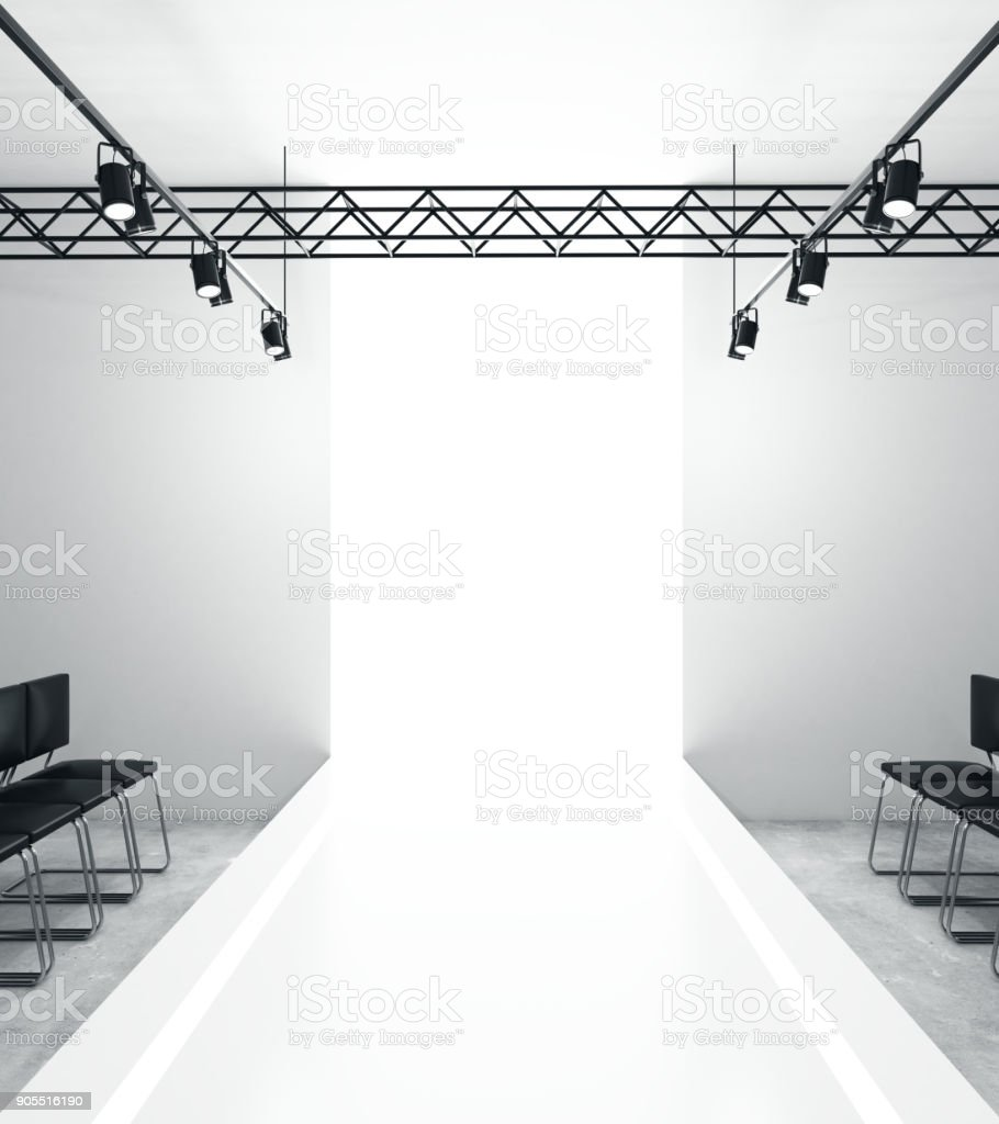 Light empty fashion runway stock photo