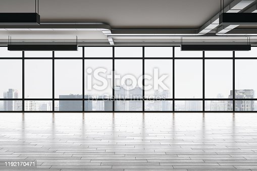 Light empty office interior with panoramic city view, reflections, daylight and copy space. 3D Rendering
