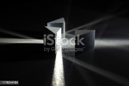 light go through three prisms with dark background
