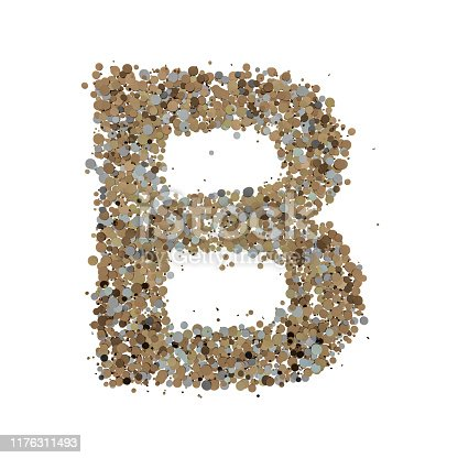 845304606 istock photo Light gold letter B on the background. 3D 1176311493