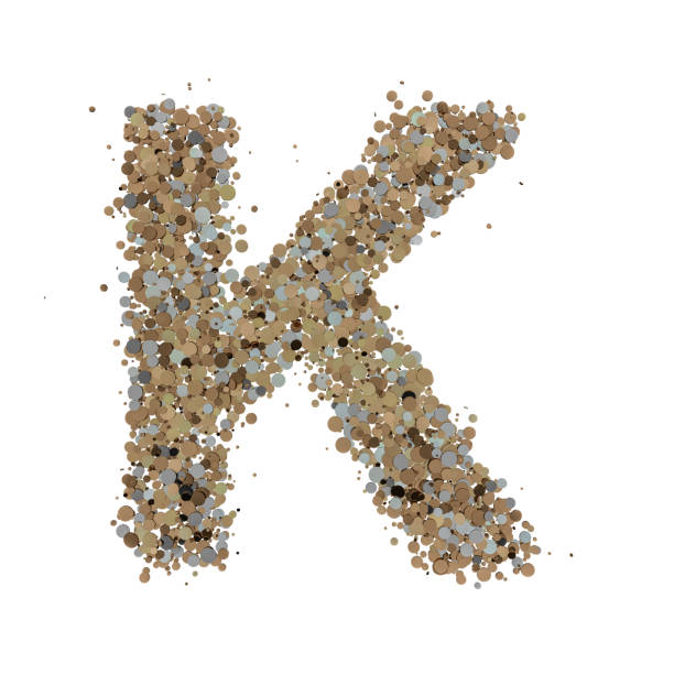 Light gold letter K on the background. 3D Light gold letter K on the background. 3D rendering k icon stock pictures, royalty-free photos & images