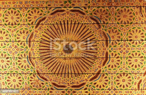 1141967162 istock photo Light golden background with oriental ornaments 658360402