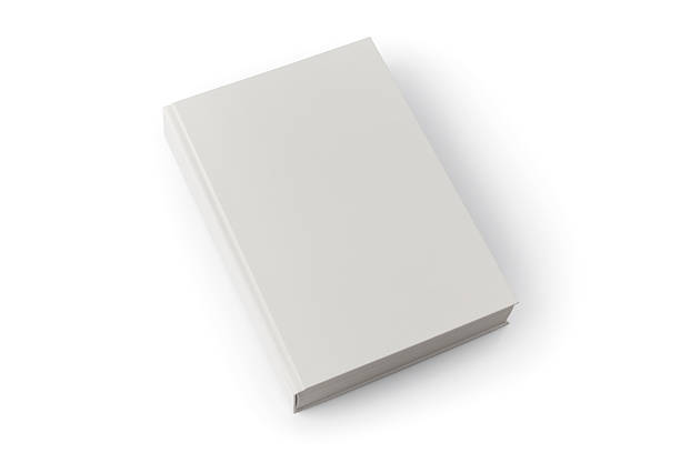 Light gray blank book with shadow against white background stock photo