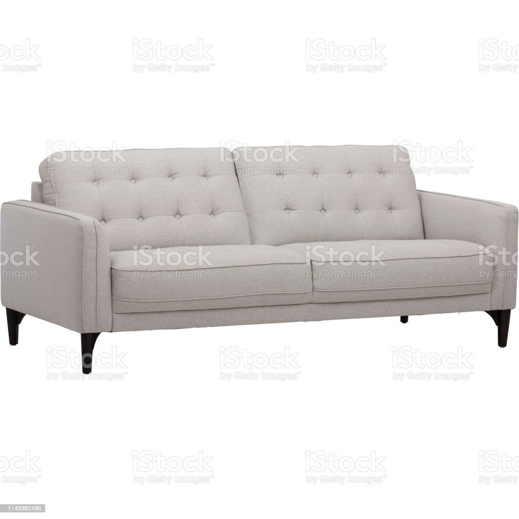 Light Gray Sofasofa Bed Christine Light Gray Loveseat White And Pink Pillow With White Background Stock Photo Download Image Now Istock