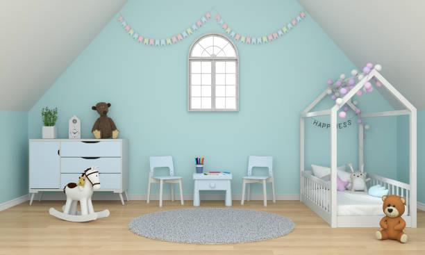 hellgrünes kinderzimmer innenraum unter dem dach für mockup, 3d-rendering - lila, grün, schlafzimmer stock-fotos und bilder