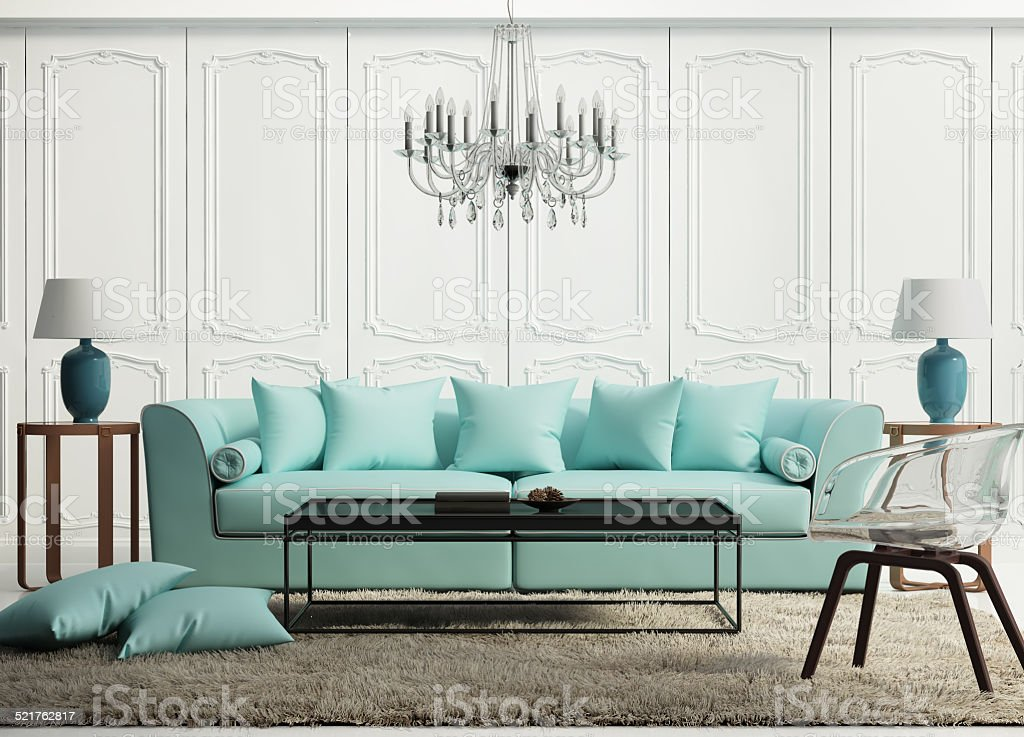 Light green elegant baroque living room stock photo
